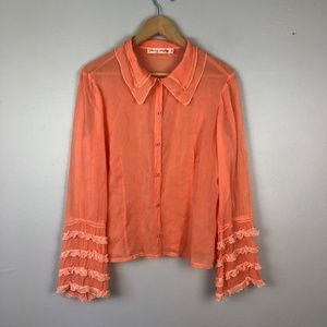 JOHNNY WAS Vintage Button Down Ruffle Sleeve Sz S